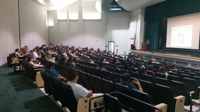 View from the back of the auditorium.