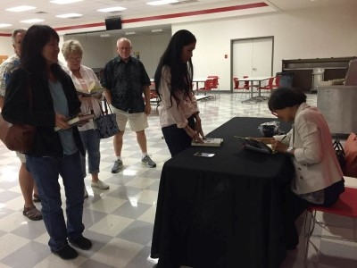 Book signing after the presentation.
