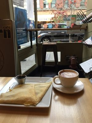 Breakfast crepe and mocha at the Eastern Cafe in the International District.