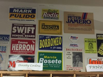 Political posters of every Filipino American candidate for office in the U.S. on the walls.