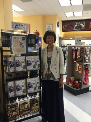 By the bookstore display of my book.