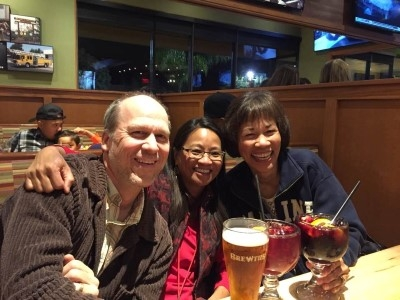 Winding down a great visit with sangria and beer, with my cousin Janet and her husband, Tim.