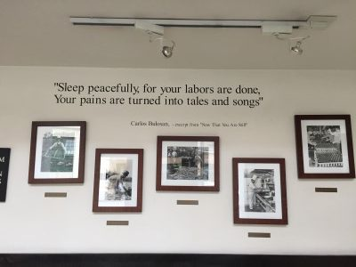 I was excited to see that the Carlos Bulosan quote on the wall of the Eastern Hotel is the quote that opens my novel.