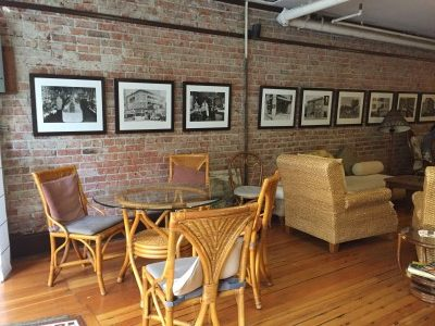 The lower level of the Panama Hotel's cafe boasts historic black-and-white photos on the brick walls and comfortable tables for coffee and tea.
